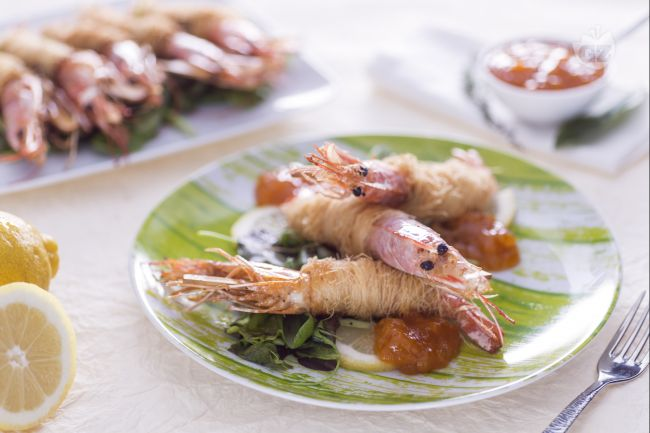 Ricetta gamberi in pasta kataifi con salsa alla confettura di ...