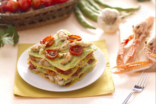 Ricetta lasagne con scampi pomodorini e pesto di fave