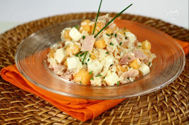 Ricetta insalata di riso con prosciutto e melone