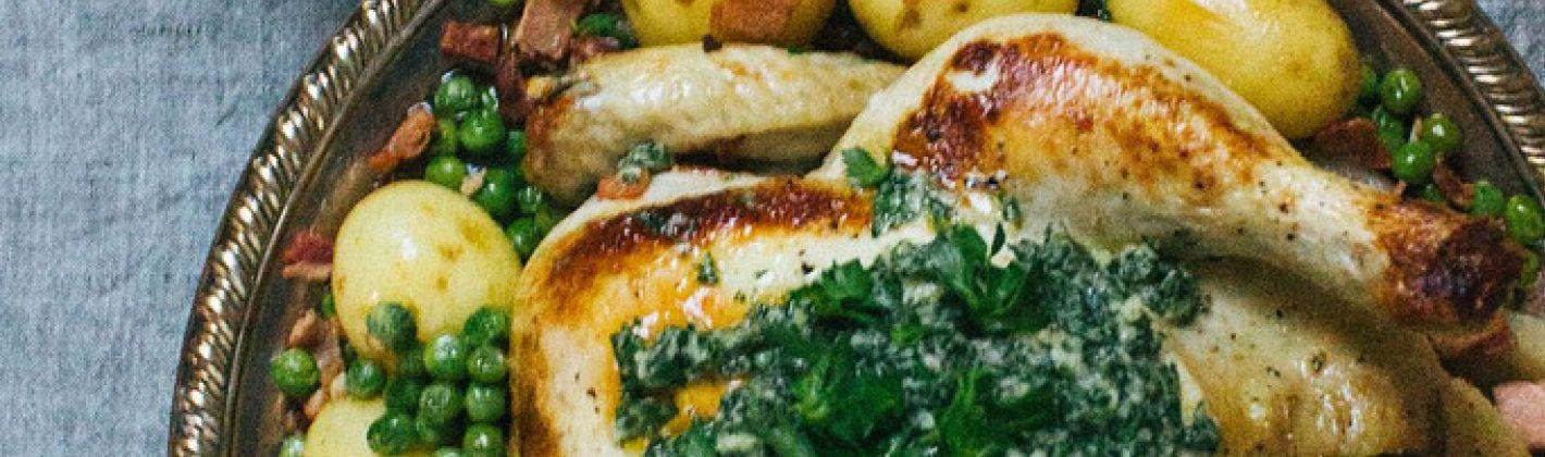 Ricetta pollo con patate e piselli