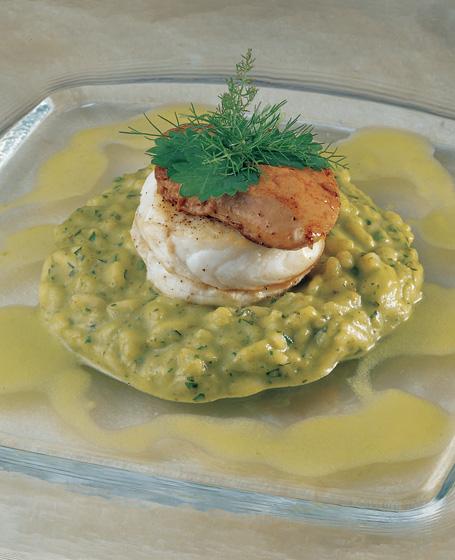 Riso alle erbe e limone, filetti di sanpietro e fegato di rana pescatrice