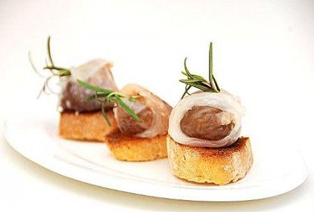 Ricetta crostini con marroni e lardo