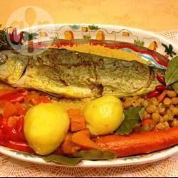 Capone (lampuga) fritto su letto di cous cous e verdure speziate ...