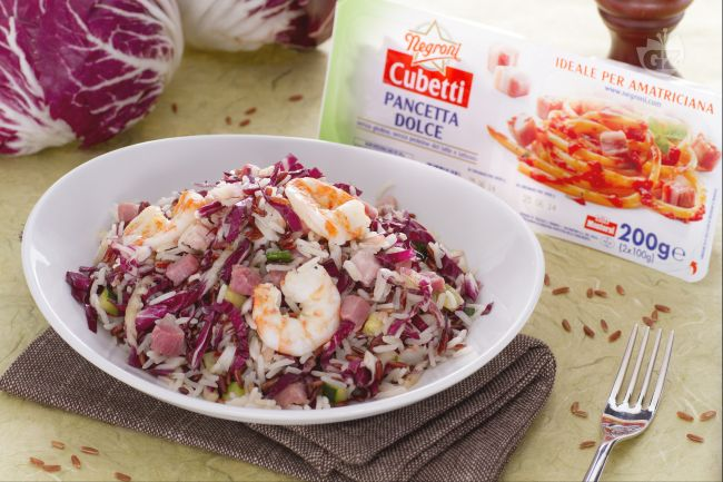Ricetta insalata di riso basmati e rosso e cubetti di pancetta dolce ...