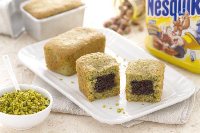 Ricetta mini plumcake al pistacchio con cuore al nesquik