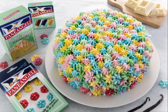 Ricetta torta con panna multicolor