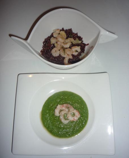Riz rouge con gamberetti e crema di broccoli