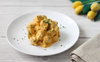 Ricetta bocconcini di lonza con crema di carote e curry