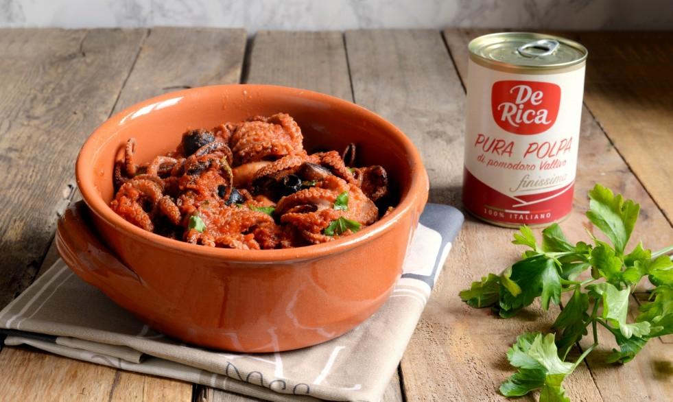 Ricetta polipetti al sugo e olive nere