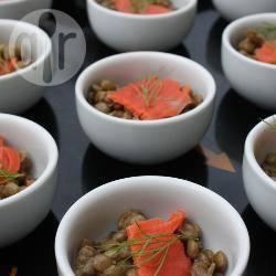 Ciotoline di lenticchie e salmone affumicato