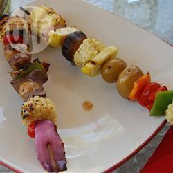 Spiedini di verdure marinate alla griglia
