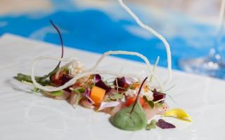 Ricetta sashimi di ricciola, gelatina di sangria, melone, anguria ...