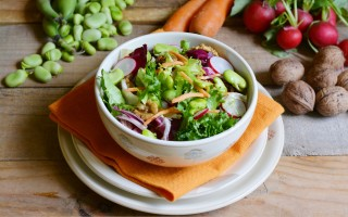 Ricetta insalata con noci, fave e ravanelli