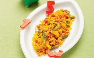 Ricetta paella con verdure, pollo e coniglio