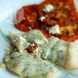 Merluzzo al forno con gorgonzola e pomodori fritti
