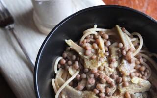 Ricetta spaghetti di farro con carciofi e lenticchie