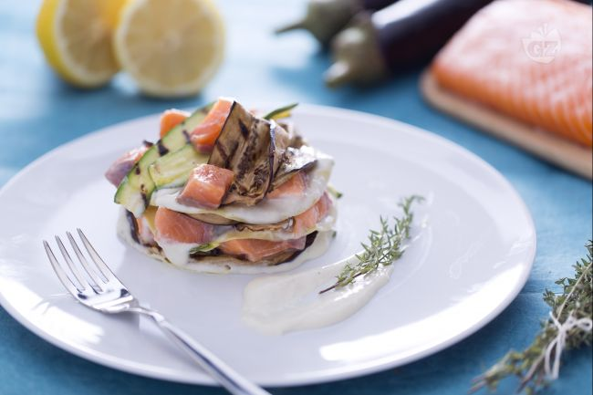 Ricetta lasagnetta aperta al salmone, zucchine e melanzane ...