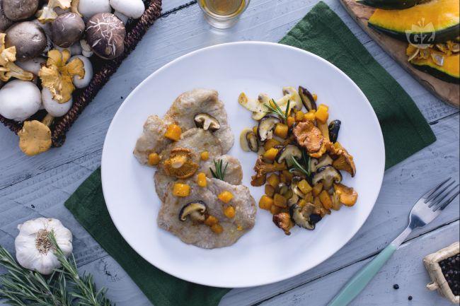 Ricetta scaloppine al vin santo con zucca e funghi misti