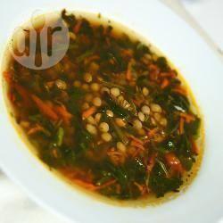 Zuppa veloce di lenticchie e spinaci
