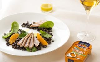 Ricetta ventresca di tonno, lenticchie beluga e mandarino ...