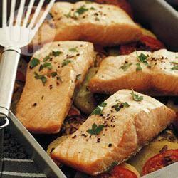Tian di salmone al forno con le verdure