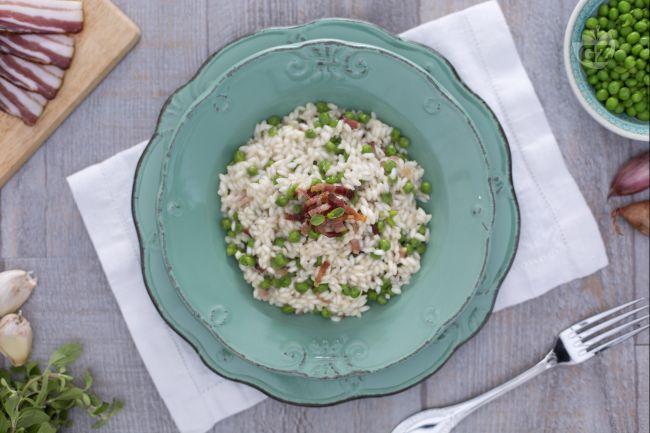 Ricetta risotto con piselli pancetta e maggiorana