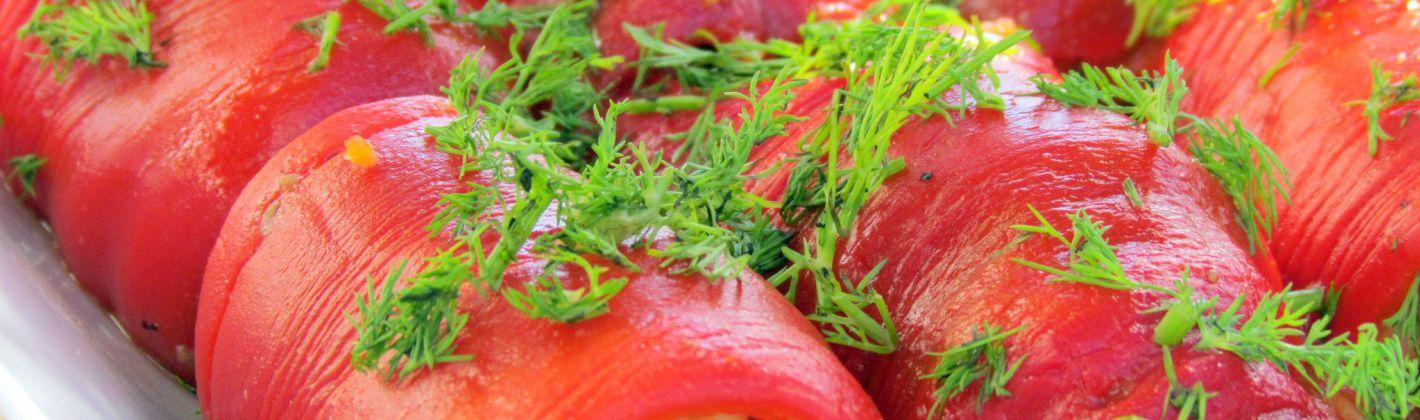 Ricetta involtini di peperoni con salsiccia