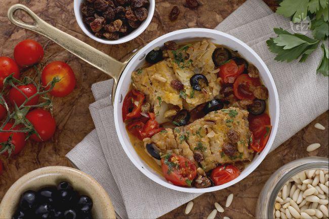 Ricetta baccalà con uvetta e pinoli