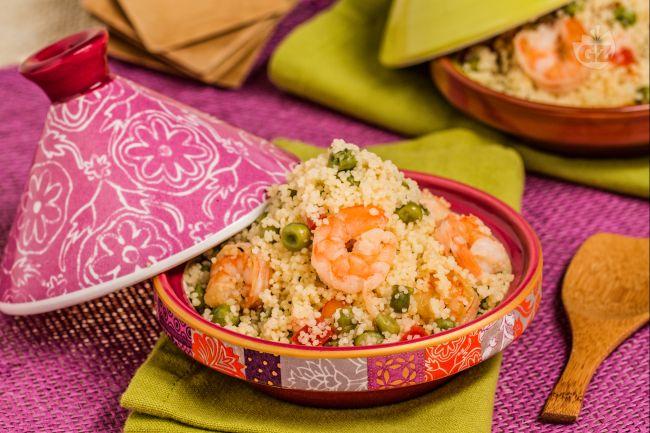 Ricetta couscous con piselli e gamberi