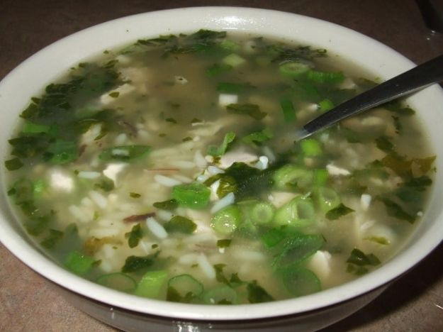 Ricetta minestra di riso in brodo con porri e topinambur