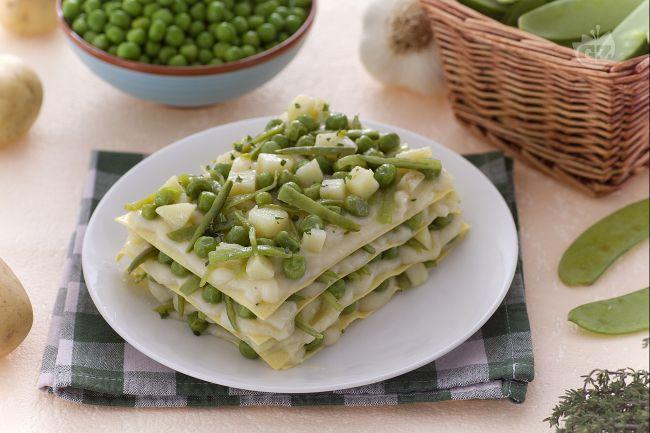 Ricetta lasagne con fagiolini patate e piselli