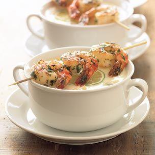 Ricetta zuppa di mais con gamberi arrostiti