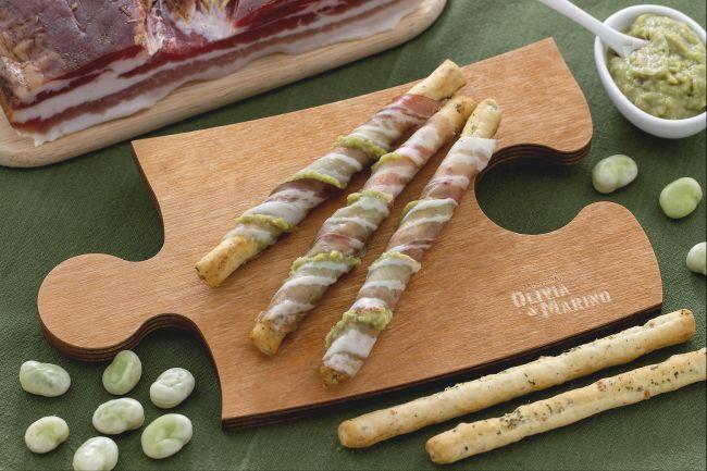 Ricetta sfilati con purea di fave e pancetta