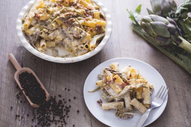 Ricetta timballo di maccheroni con salsiccia e carciofi