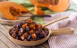 Ricetta riso rosso con zucca caramellata e radicchio