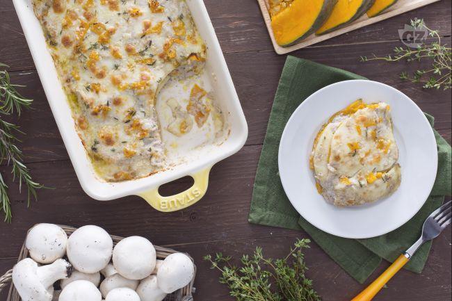 Ricetta lasagne di zucca con crema di funghi e scamorza