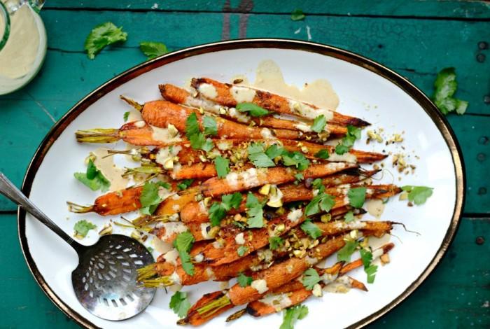 Carote arrostite con salsa thaini