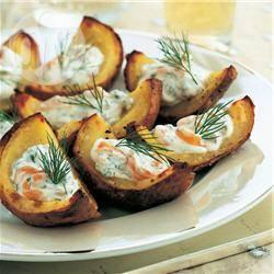 Barchette di patate al forno con salmone