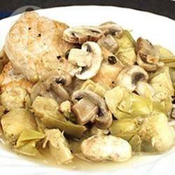 Pollo ai funghi e carciofi