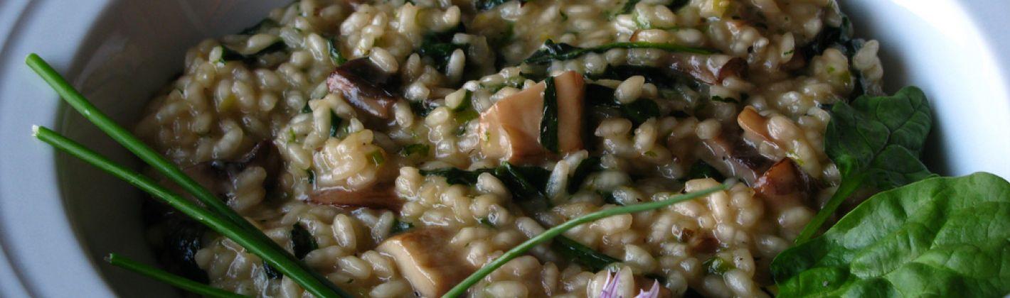Ricetta risotto con funghi e spinaci