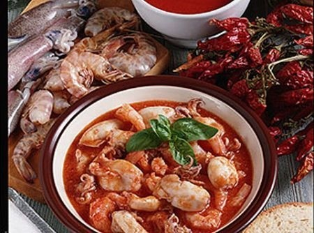 Ricetta zuppetta di calamaretti e scampi