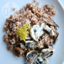 Grano saraceno con crema di funghi