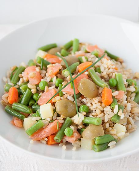 Insalata di riso con fagiolini e salmone ai 3 cereali