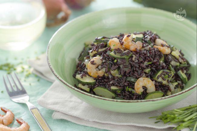 Ricetta riso venere con gamberetti e zucchine